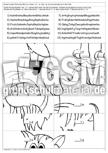 lesepuzzle b d g lese puzzle lesegenauigkeit schulen lesen deutsch klasse 3. Black Bedroom Furniture Sets. Home Design Ideas