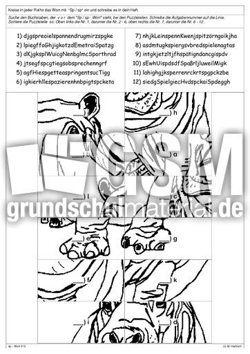 lesepuzzle sp sp lese puzzle lesegenauigkeit schulen lesen deutsch klasse 3. Black Bedroom Furniture Sets. Home Design Ideas