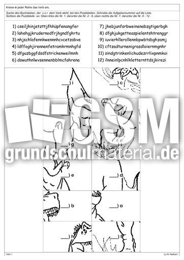 lesepuzzle verben lese puzzle lesegenauigkeit schulen lesen deutsch klasse 3. Black Bedroom Furniture Sets. Home Design Ideas