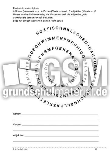 Nomen Verben Adjektive - Spiral-Rätsel - Lesegenauigkeit schulen ...
