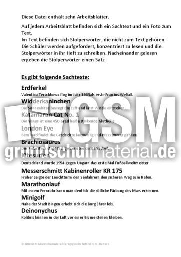 Stolperwörter_2 - Stolperwörter - Lesegenauigkeit schulen - Lesen ...
