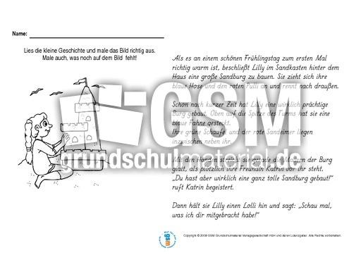 Sandburg malen  Lesen-und-malen-Frühling - Lesehefte - Lesen - Deutsch Klasse 3 ...