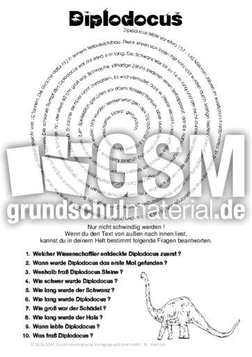 Diplodocus - 325 Tierbeschreibungen Spiraltext - Tierbeschreibungen ...