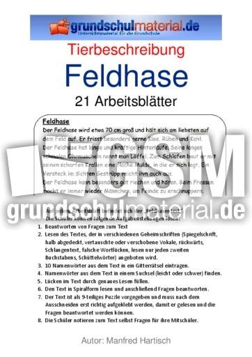 Feldhase 39 tierbeschreibungen tierbeschreibungen lesen deutsch klasse 3 - Steckbrief feldhase grundschule ...