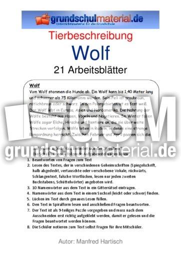 wolf 39 tierbeschreibungen tierbeschreibungen lesen deutsch klasse 3. Black Bedroom Furniture Sets. Home Design Ideas