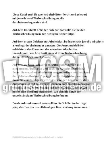 Faultier - Zebra - Tiermix - Tierbeschreibungen - Lesen - Deutsch ...