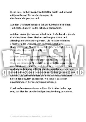 Hausschwein Igel Tiermix Tierbeschreibungen Lesen Deutsch
