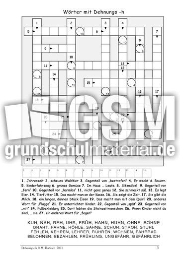 Wörter mit Dehnungs -h - Dehnungs h - Rechtschreibung - Deutsch ...