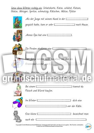 Wu00f6rter-mit-tz-zuordnen Teil 1 - Lernhefte u2013 Rechtschreiben - Rechtschreibung - Deutsch Klasse 3 ...