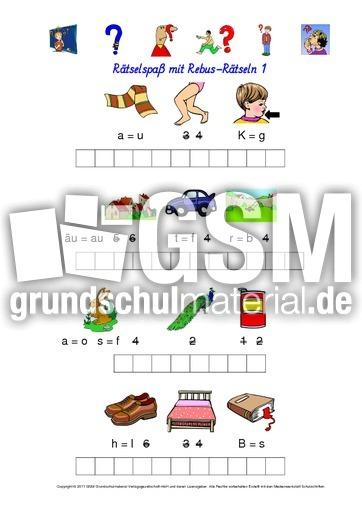 Rebus-Rätsel-Kartei 1 - Wörterrätsel - Rebusrätsel - Rechtschreibung ...