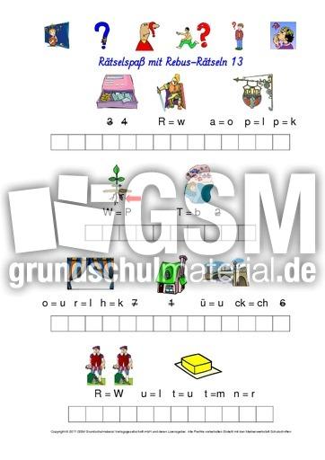Rebus-Rätsel-Kartei 13 - Wörterrätsel - Rebusrätsel ...