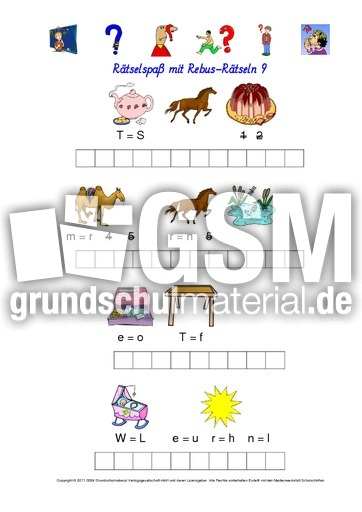 Rebus-Rätsel-Kartei 9 - Wörterrätsel - Rebusrätsel - Rechtschreibung ...