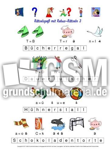 Arbeitsblatt in der Grundschule - Wörterrätsel - Rebusrätsel ...