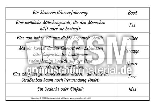aa-ee-oo-Ru00e4tsel-Lu00d6-1-4 - Wu00f6rterru00e4tsel - Rechtschreibung - Deutsch Klasse 3 - Grundschulmaterial.de