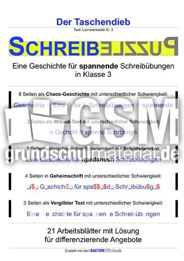 Der Taschendieb - SchreibPuzzle - Schreiben und Lesen - Deutsch ...