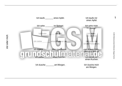 mir oder mich bungen pronomen vario karten deutsch klasse 3. Black Bedroom Furniture Sets. Home Design Ideas