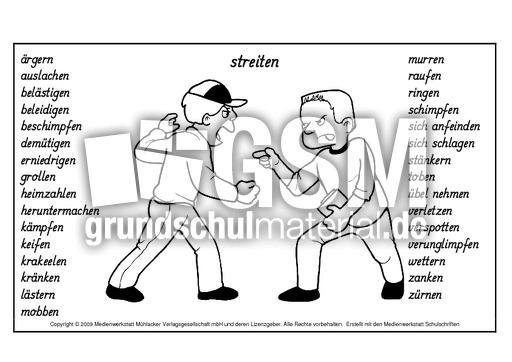 Wortfeld-Streit-Verben - Wortfelder - Deutsch Klasse 3 - Grundschulmaterial.de
