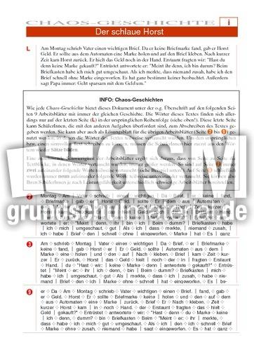 Der schlaue Horst - Chaos-Geschichten - Deutsch Klasse 4