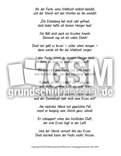 Fuchs und Storch - Fabeln in Reimform - Fabeln - Deutsch ...