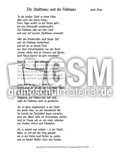 Stadtmaus und Feldmaus - Fabeln in Reimform - Fabeln ...