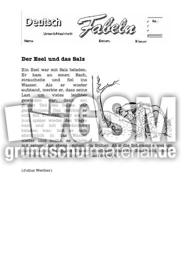 der esel und das salz 1 klassische fabeln fabeln deutsch klasse 4. Black Bedroom Furniture Sets. Home Design Ideas