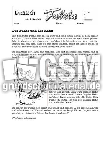 der fuchs und der hahn 1 klassische fabeln fabeln deutsch klasse 4. Black Bedroom Furniture Sets. Home Design Ideas