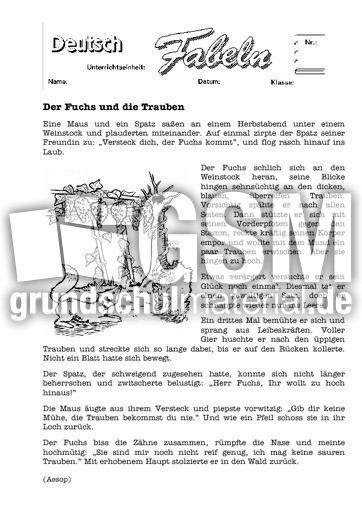 der fuchs und die trauben 1 klassische fabeln fabeln deutsch klasse 4. Black Bedroom Furniture Sets. Home Design Ideas