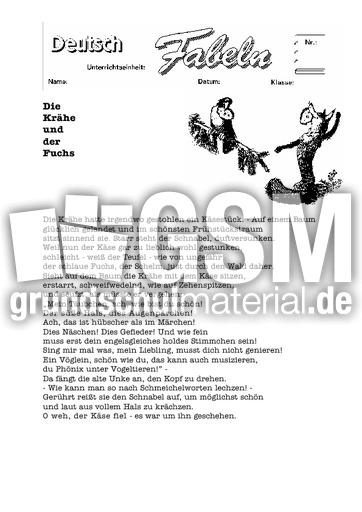 die kr he und der fuchs 1 klassische fabeln fabeln deutsch klasse 4. Black Bedroom Furniture Sets. Home Design Ideas