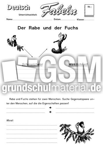 die kr he und der fuchs 2 klassische fabeln fabeln deutsch klasse 4. Black Bedroom Furniture Sets. Home Design Ideas