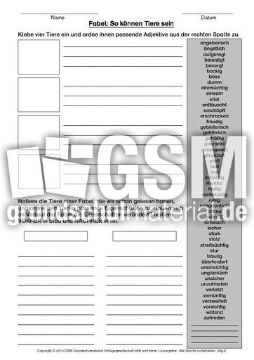 fabel adjektive zuordnen klassische fabeln fabeln deutsch klasse 4. Black Bedroom Furniture Sets. Home Design Ideas