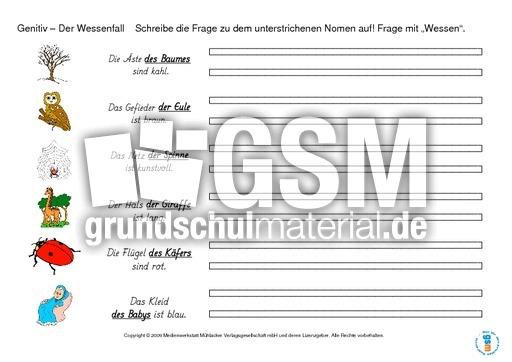 Vier F Lle Genitiv Grammatik Lernhefte Grammatik Deutsch Klasse 4