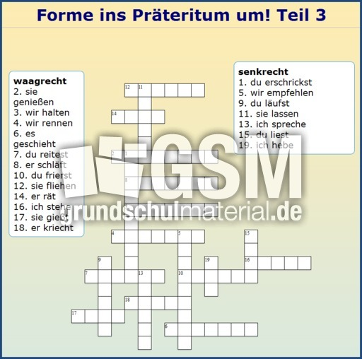 widget praeteritum 3 kreuzwortr228tsel pr228teritum