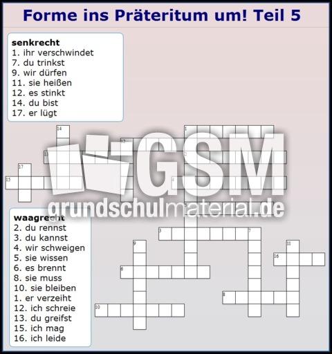 widget praeteritum 5 kreuzwortr228tsel pr228teritum