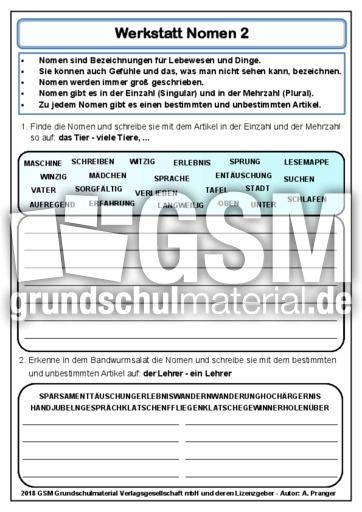 Lernwerkstatt Nomen 2 Werkstätten Grammatik Deutsch Klasse 4