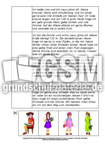 Arbeitsblatt in der Grundschule - Personenbeschreibung - Personen ...