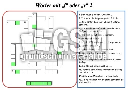 f oder v 2 kreuzwortr tsel rechtschreibung deutsch klasse 4. Black Bedroom Furniture Sets. Home Design Ideas
