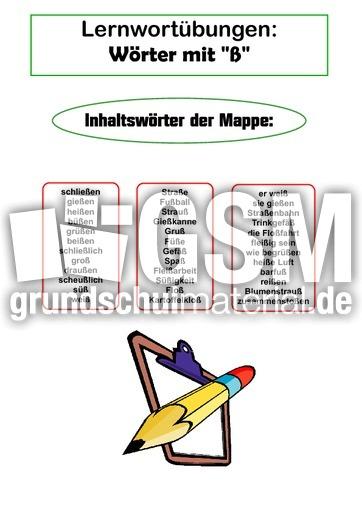 Lernwortmappe ß Woerter Lernwortmappen Mit übungen