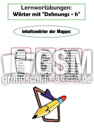 Lernwortmappe - Dehnungs h - Lernwortmappen mit u00dcbungen - Rechtschreibung - Deutsch Klasse 4 ...