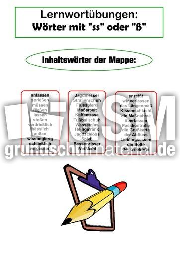 Lernwortmappe - ss oder u00df - Lernwortmappen mit u00dcbungen - Rechtschreibung - Deutsch Klasse 4 ...