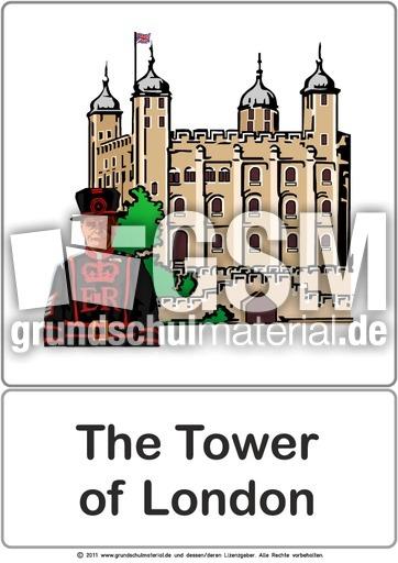 bildkarte the tower of london london bild wort vorlagen color englisch klasse 2. Black Bedroom Furniture Sets. Home Design Ideas