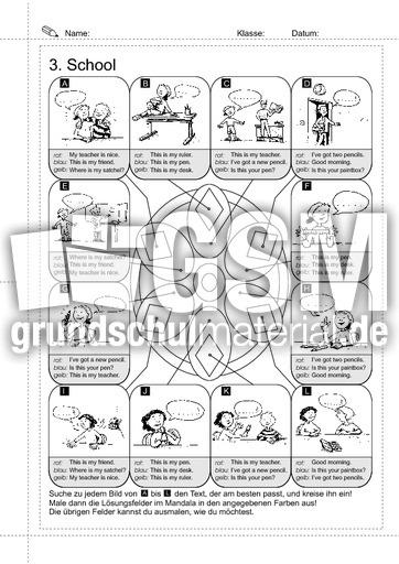 03_Sätze - school 1 - Erste englische Sätze - Arbeitsblätter ...