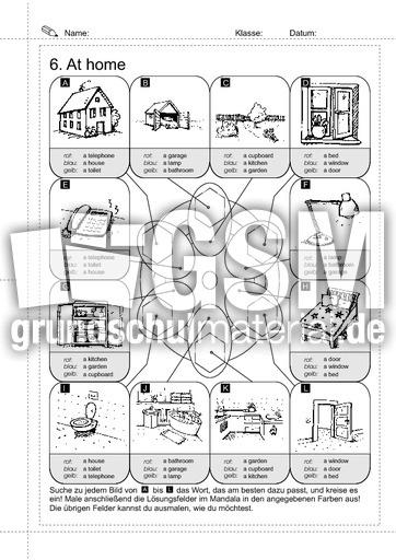06 w rter at home 2 erste englische w rter arbeitsbl tter englisch klasse 3. Black Bedroom Furniture Sets. Home Design Ideas