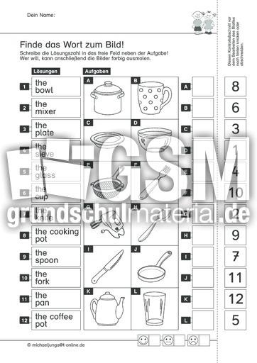 In der Küche (englisch) d - Wortfeld-Leseübungen - Arbeitsblätter ...