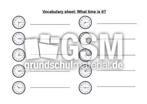 time 2 vocabulary sheets arbeitsbl tter englisch klasse 4. Black Bedroom Furniture Sets. Home Design Ideas