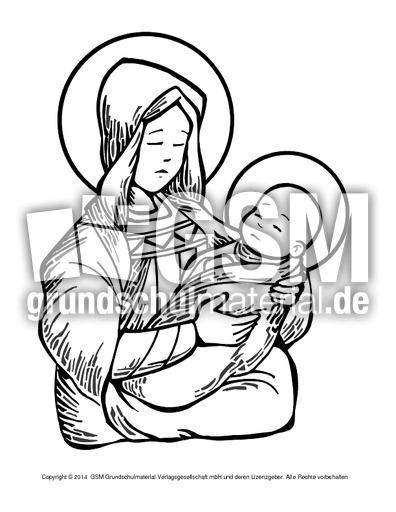 ausmalbildmariajesus2  religiöse motive  ausmalbilder