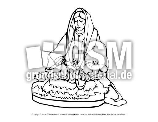 Ausmalbild Maria Jesus 4 Religiöse Motive Ausmalbilder