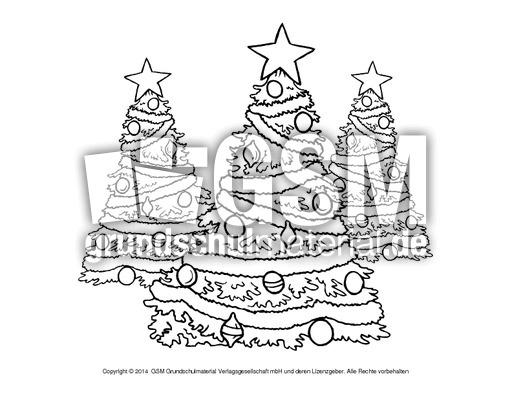 ausmalbild-weihnachtsbäume - weihnachten - ausmalbilder