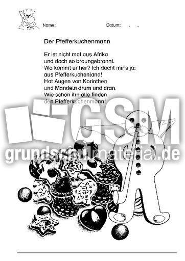 Pfefferkuchen Lesetexte Gedichte Weihnachten Feste