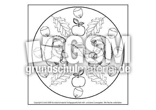 igel-mandala-4 - herbst - mandalas - herbst - jahreszeiten