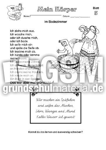 Arbeitsblatt 03 - Arbeitsblätter - Menschlicher-Körper - HuS Klasse ...